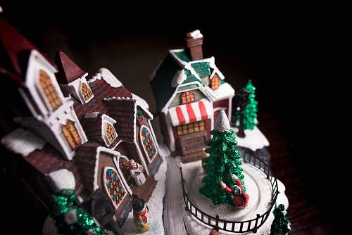 holiday A model of the Christmas holiday replete with church, Christmas tree, snowman, house and people gingerbread