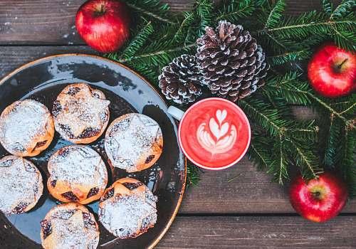food sweet pastries on black ceramic plate apple