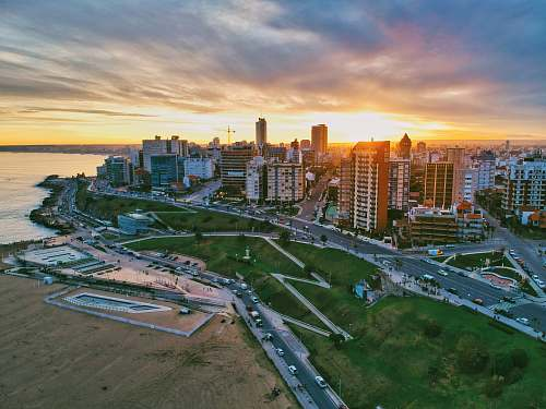 outdoors aerial photography of high-rise building beside seashore during daytime nature