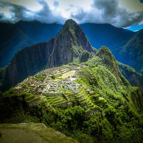 mountain aerial photo of Machu Picchu, Peru nature