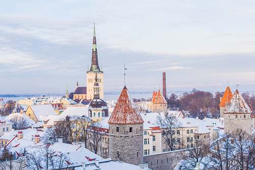 tallinn snow covered brown, white, and gray concrete castle under cloudy skies estonia