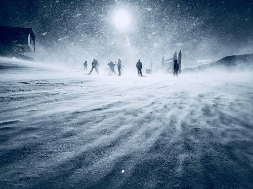 winter people walking during snow nature