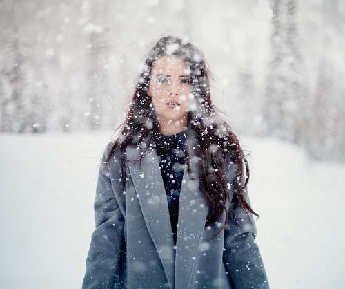 winter selective focus photograph of woman in gray coat people