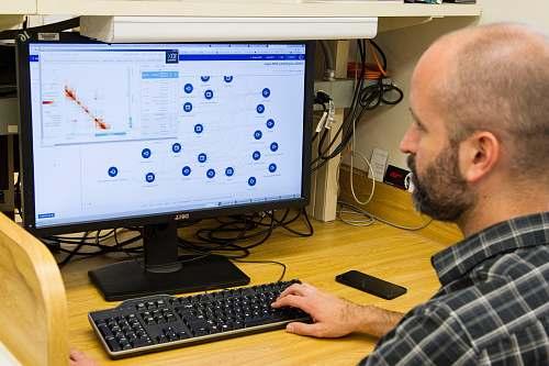 electronics man usingcomputer monitor