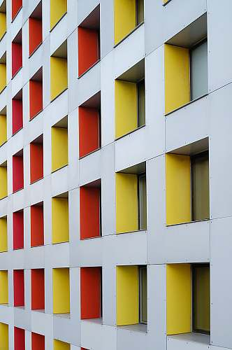 office building white, yellow, and red concrete multi-storey building boston
