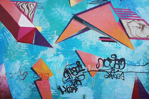 graffiti blue and multicolored wall full of graffitis wall