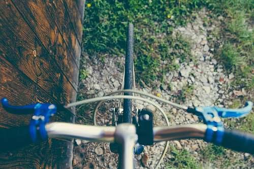 handlebars black bicycle tire on top view brakes