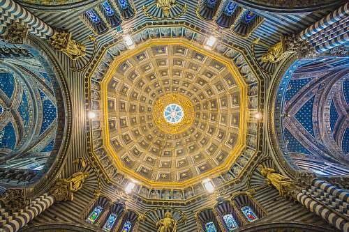 cathedral gold and brown building ceiling siena