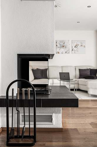 photo interior white sectional sofa and black table furniture free for commercial use images
