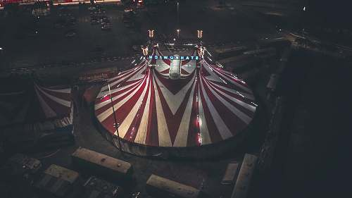 leisure activities aerial photography of red and white tent transportation