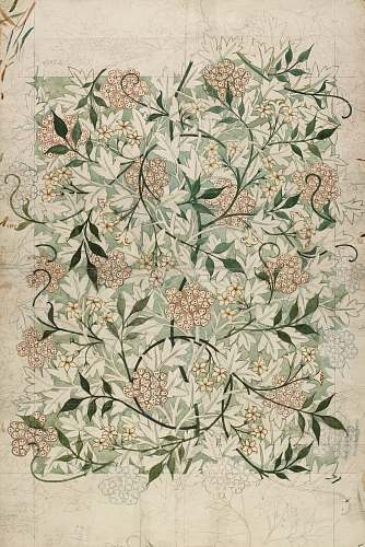 decorative arts green and white floral textile william morris