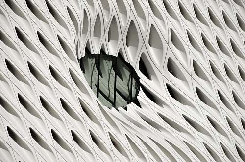 architecture oval black tint glass panel on white surface los angeles