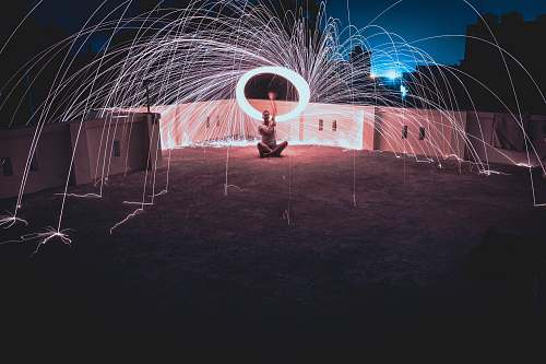 human man standing on surface in steel wool photography leisure activities