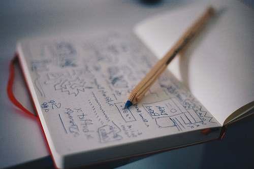 diary blue ballpoint pen on white notebook design