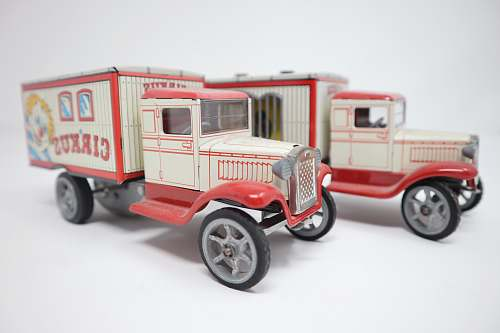 photo truck two white circus van toys vehicle free for commercial use images