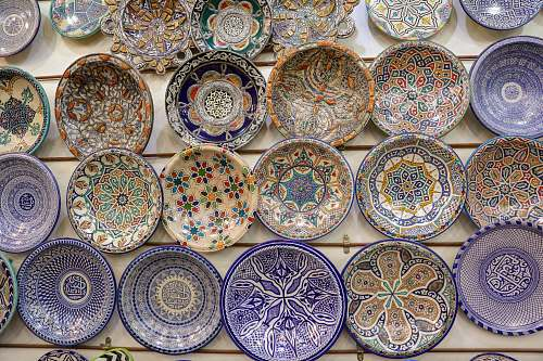 photo pottery assorted color ceramic decorative plates lot porcelain free for commercial use images