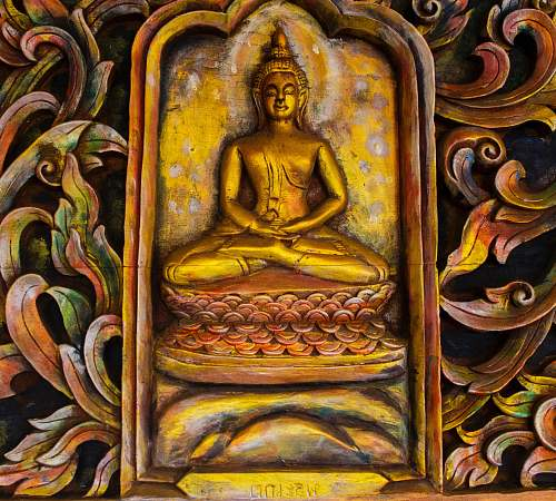 painting brass Buddha embossed wall decor architecture