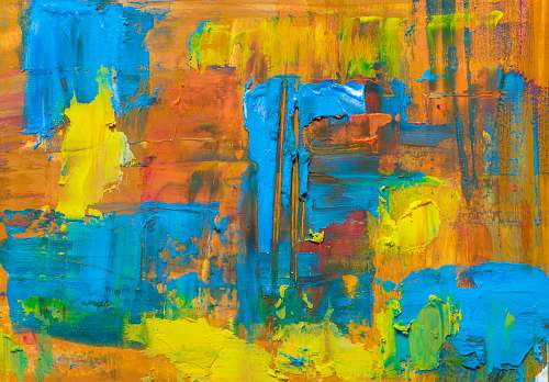 photo modern art orange and blue abstract painting painting free for commercial use images