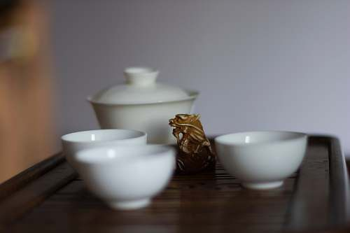 photo pottery three white ceramic bowls porcelain free for commercial use images