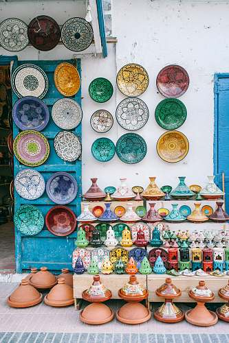 photo art flower pots and decorative plates on wall pottery free for commercial use images
