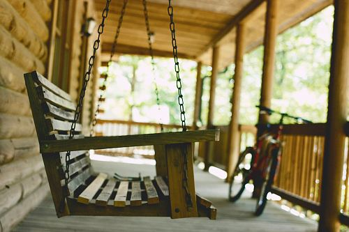 brown wooden swing