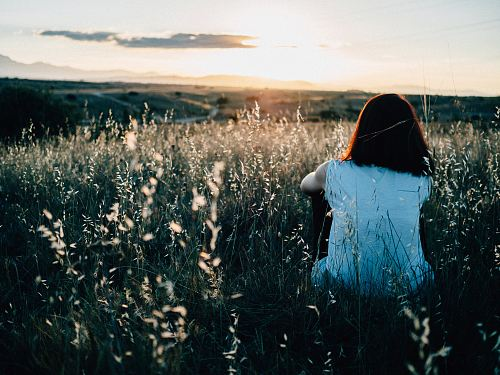 photo woman sitting on grass field watching sunset free for commercial use images