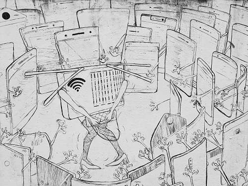 black-and-white wifi surronded by smartphone illustration grey