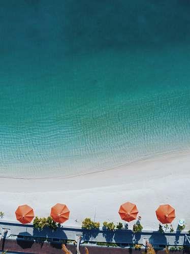 umbrella aerial photography of four orange patio umbrellas on seashore canopy