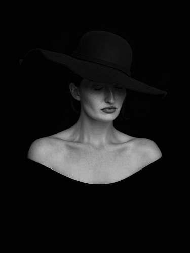 people woman in black hat portrait