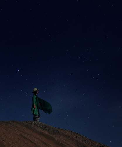 outdoors woman standing on desert night