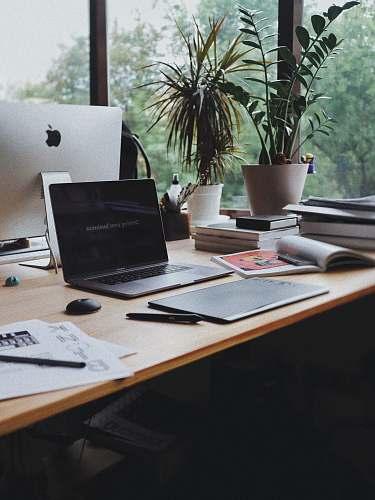 desk MacBook Pro jar