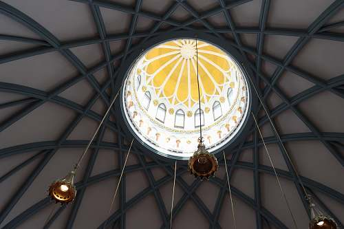 building photo of hanging pendant lamps on building ceiling dome