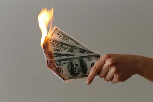 human burned 100 US dollar banknotes money